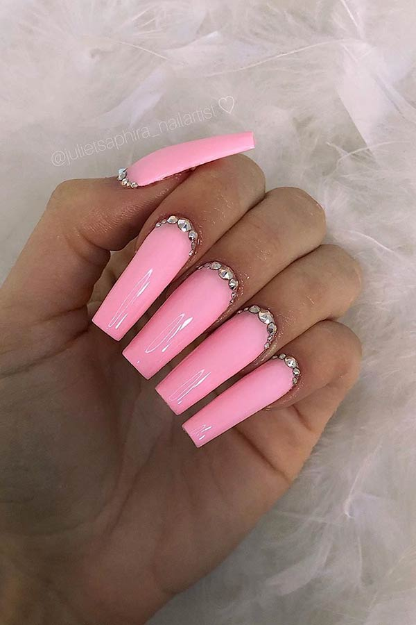 Light Pink Square Nails with Rhinestones