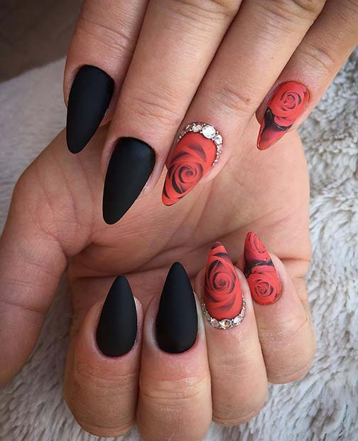 Elegant Nails with Red Roses
