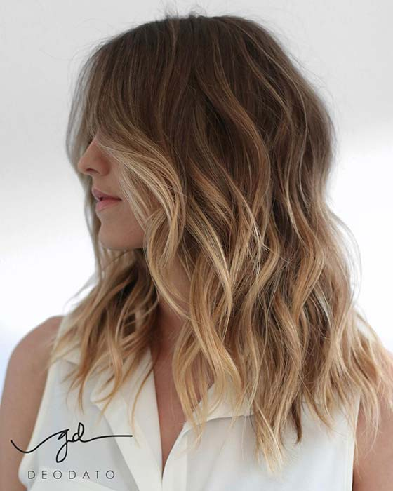 Medium Layered Hair with Blonde Ombre
