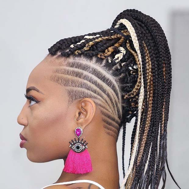 Multi Tone Braids with a Shaved Section
