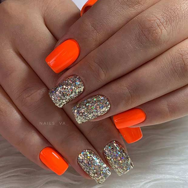 Neon Nail Design for Short Nails