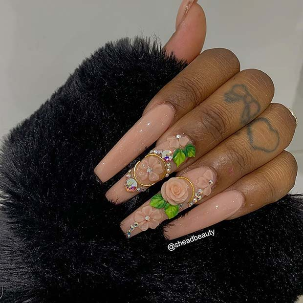 Nude Nails with Flowers and Rhinestones