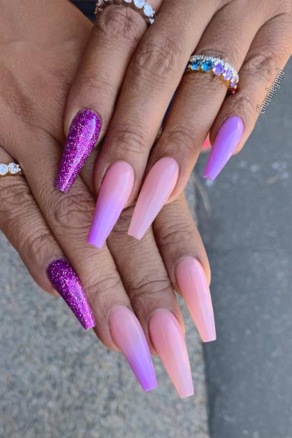 Ombre Lavender Coffin Nails