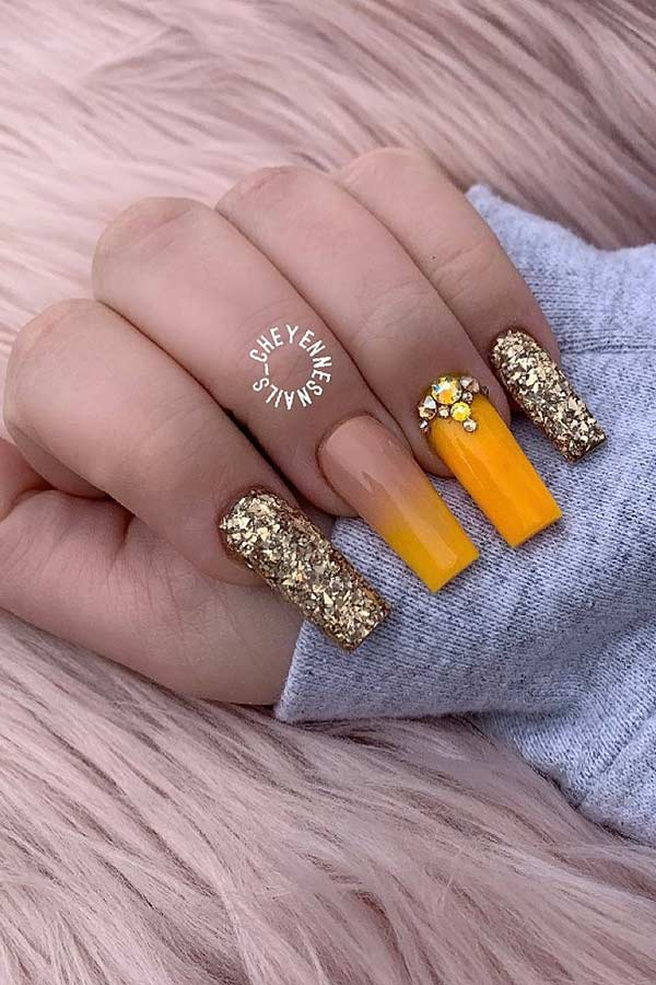 Orange and Gold Glitter Nails