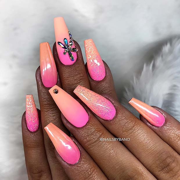 Pastel Pink and Peach Ombre