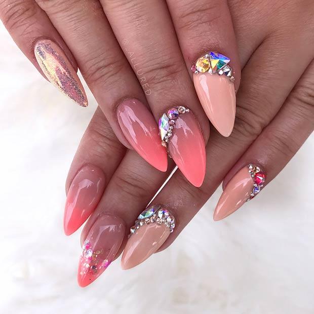 Peach Nail Design with Rhinestones