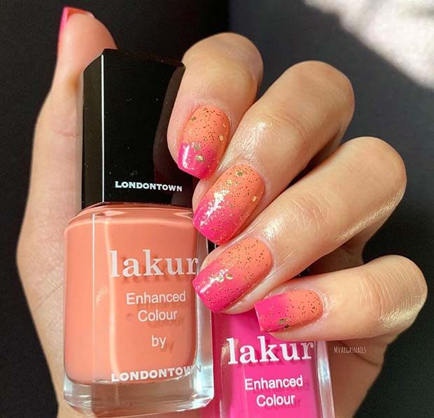 Short Peach and Pink Ombre Nails