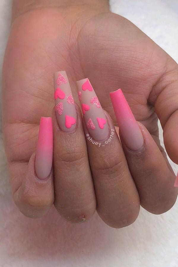 Pink Hearts Nail Art Design
