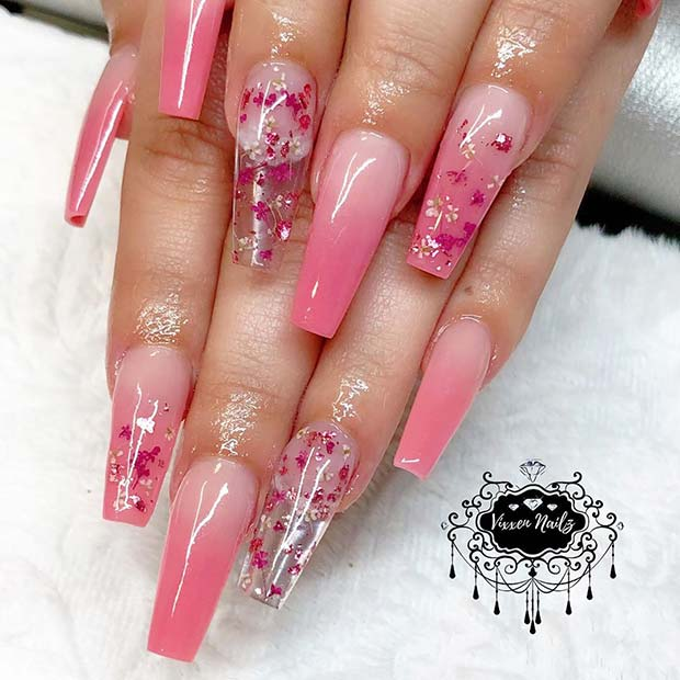Pink Ombre and Floral Jelly Nails