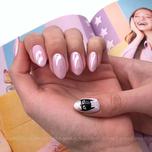 Pink Short Pointy Nails