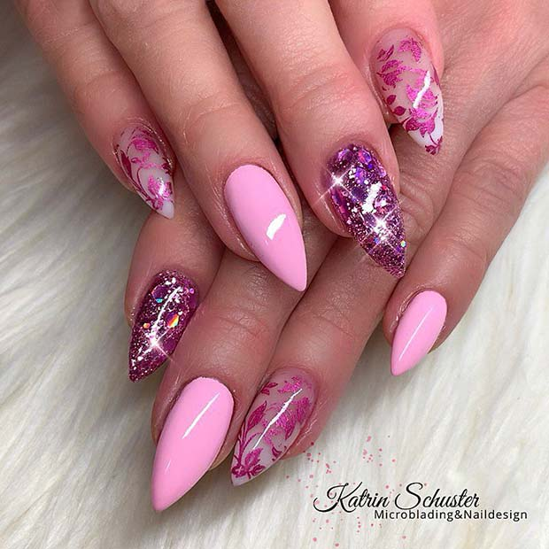 Pink and Floral Nail Design