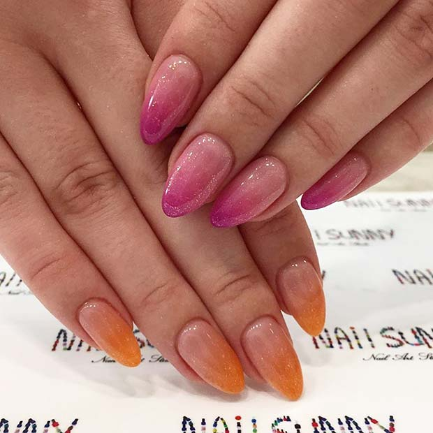 Pink and Orange Ombre Nail Design