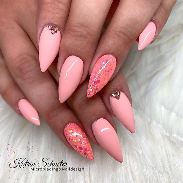 Pointy Pink Nail Design