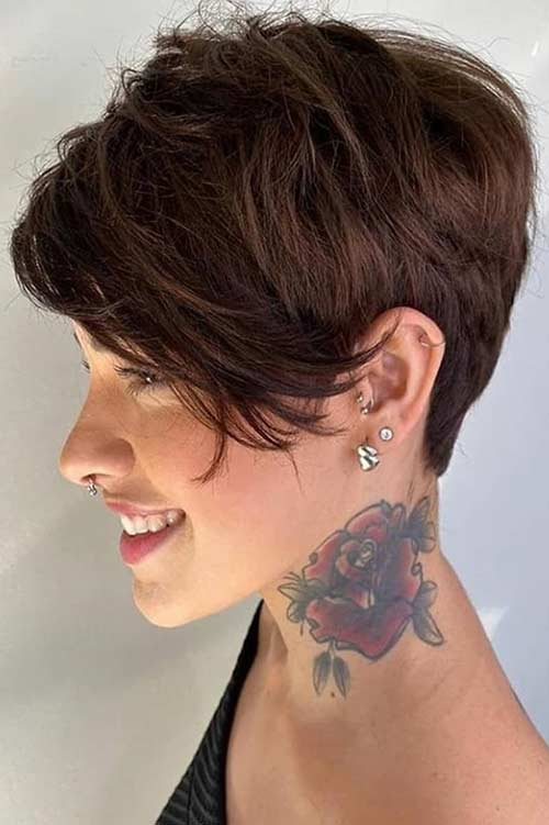 Pixie Cut with Long Side Bangs