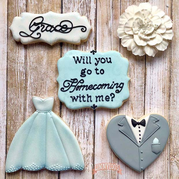 Pretty Prom Proposal Cookies