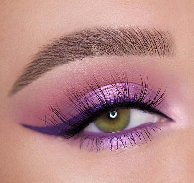 Pretty Purple Prom Makeup for Green Eyes
