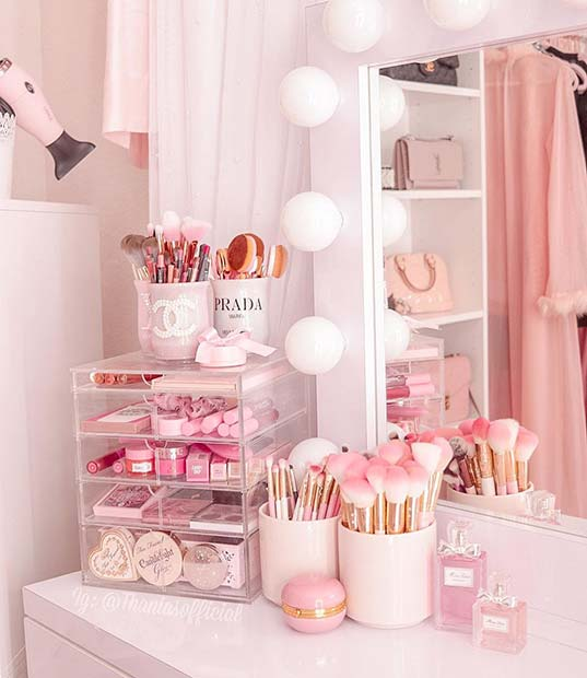 Pretty and Pink Makeup Organizer Ideas