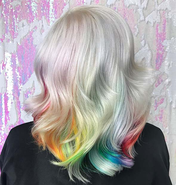 Light Blonde Hair with Rainbow Underlights