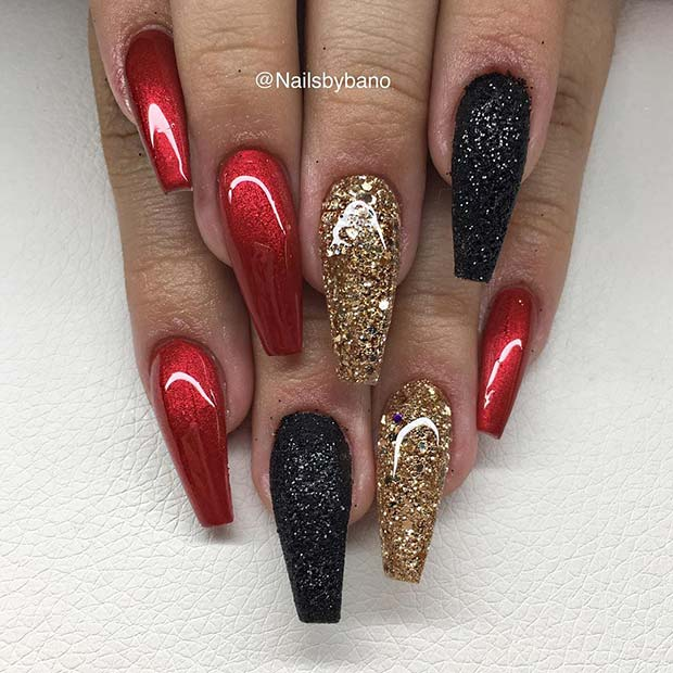 Red, Black and Gold Coffin Nails