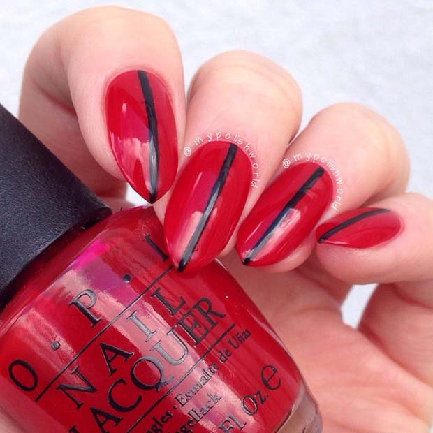 Red Nails with a Black Stripe