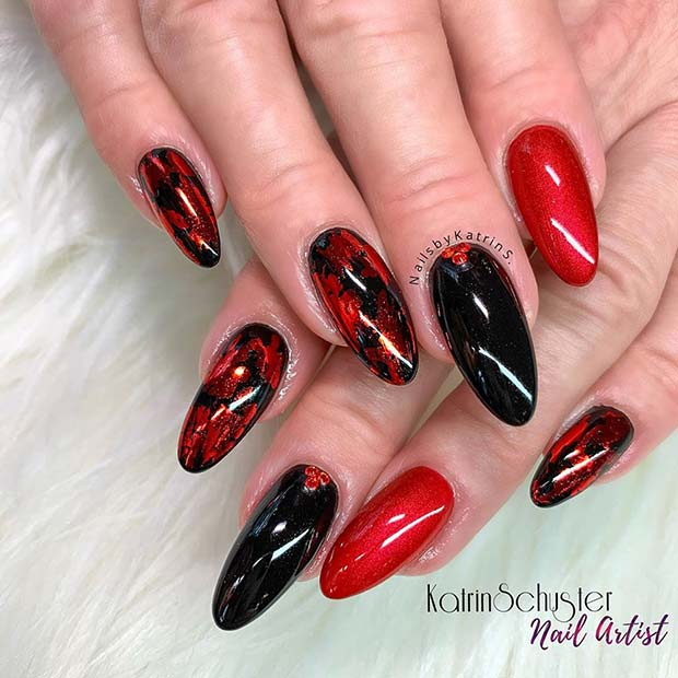 Red and Black Nails with Red Foils