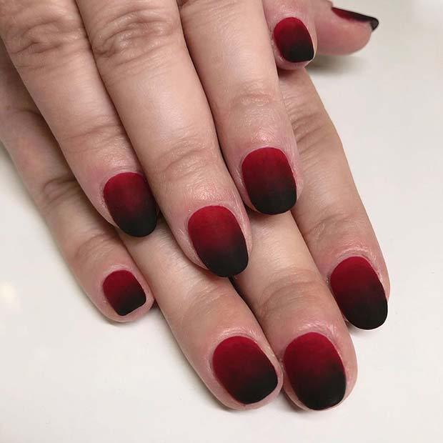 Short Red and Black Nails