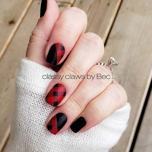 Red and Black Plaid Nails