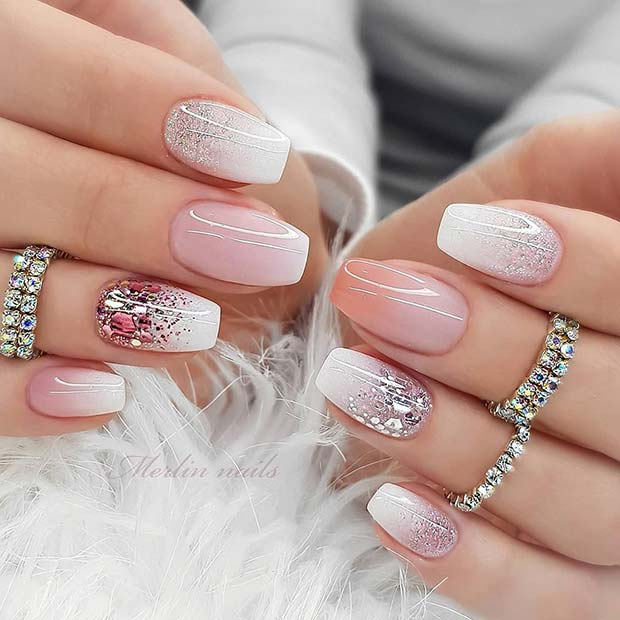 Short Pink and White Glitter Nails
