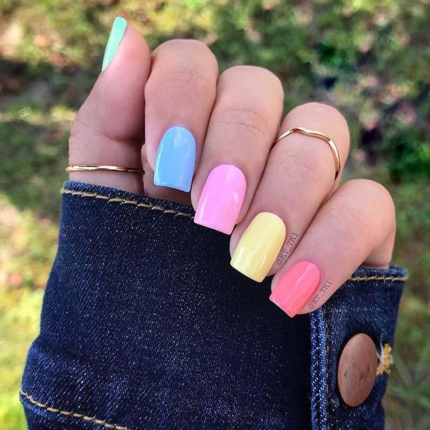 Short Rainbow Nail Idea
