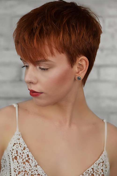 Short Red Haircut with Bangs