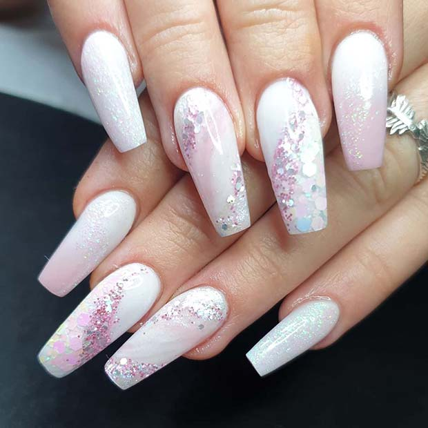 Soft Pink and White Nail Design