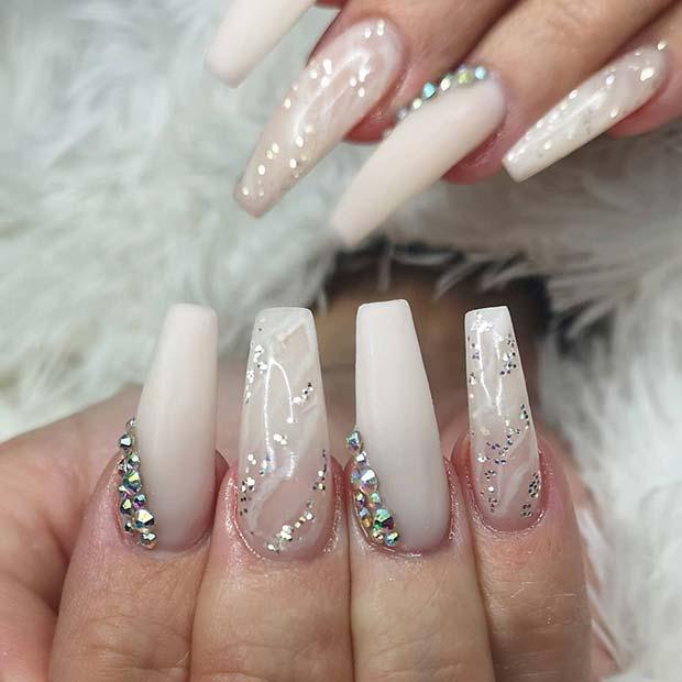 Soft White, Glitter and Rhinestones