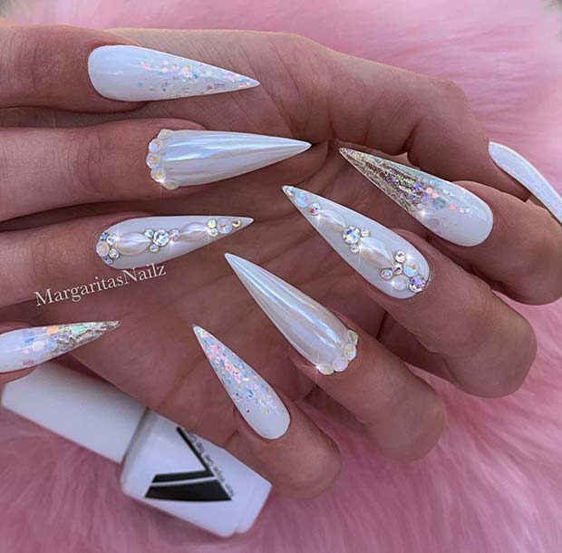 Sparkly White Stiletto Nails