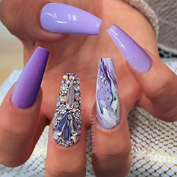 Statement Purple Nails with Marble Art and Rhinestones