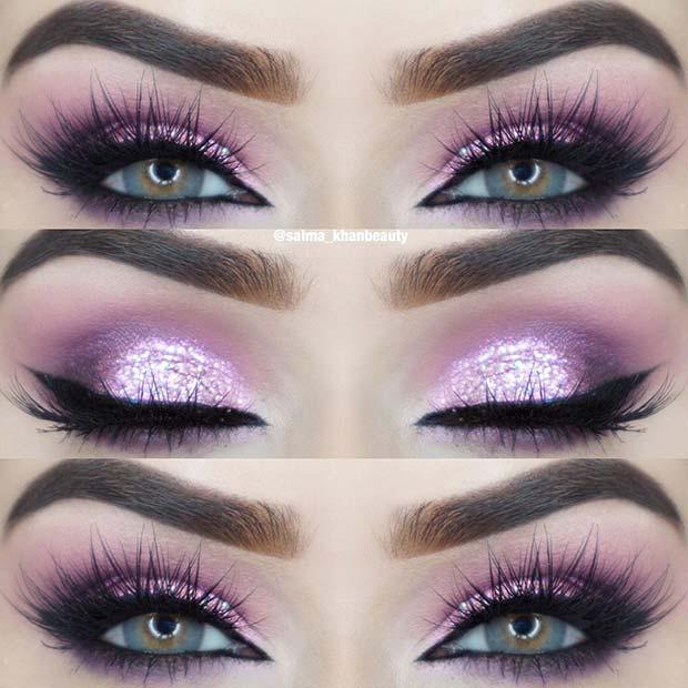 Stunning Purple Eye Makeup for Blue Eyes