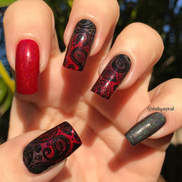 Stylish Paisley Nail Art