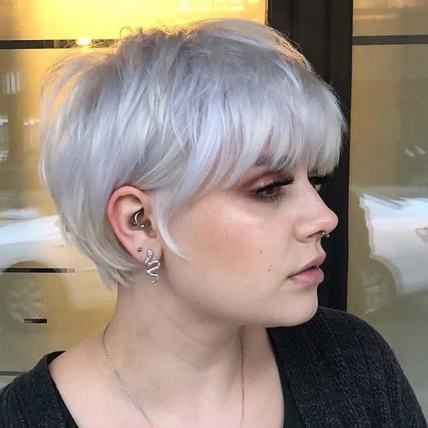 Stylish Short Silver Hair