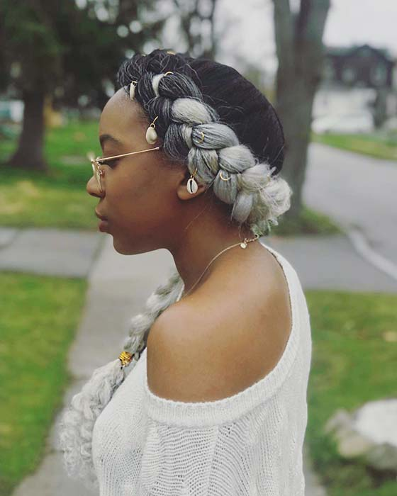Stylish and Glam Grey Butterfly Braids