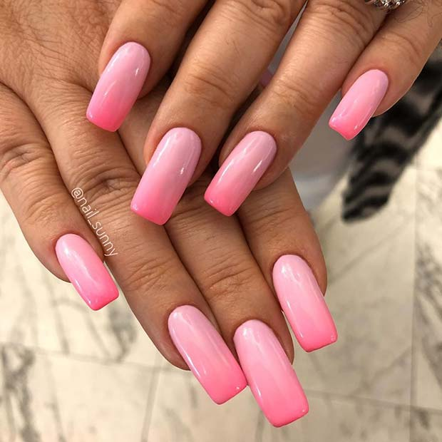 Subtle Pink Ombre Nails
