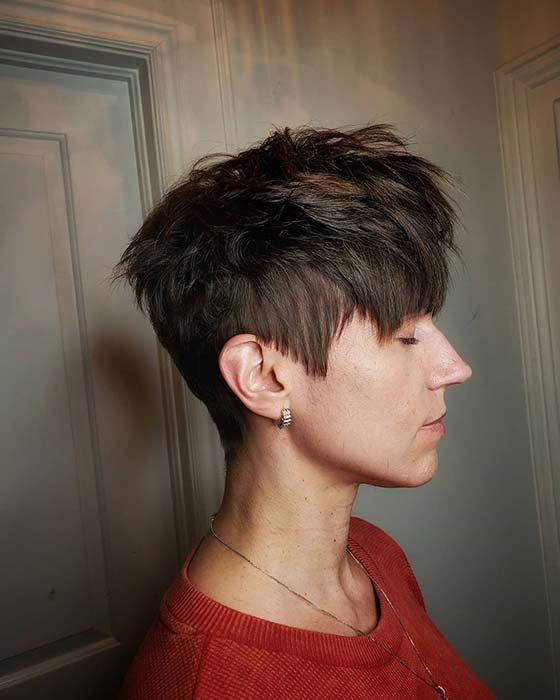Textured Short Haircut with Bangs