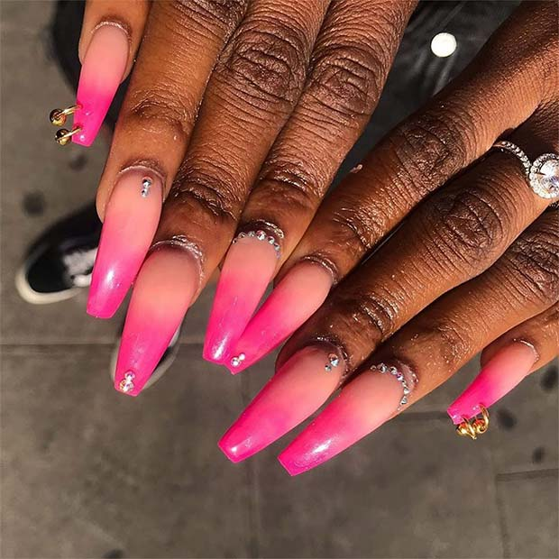 Trendy Pink Ombre Nail Art