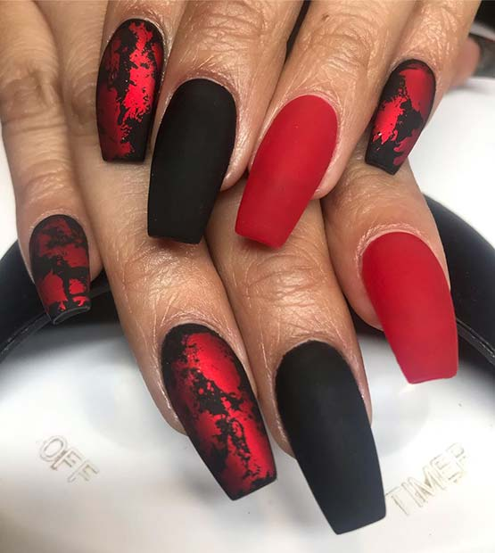 Matte Red and Black Nails