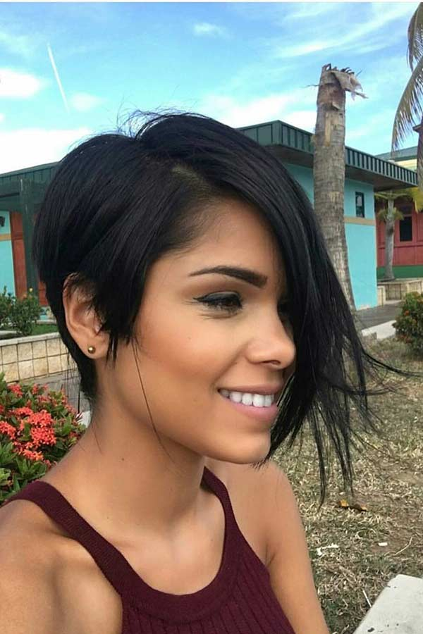 Trendy Short Haircut with Long Side Bangs