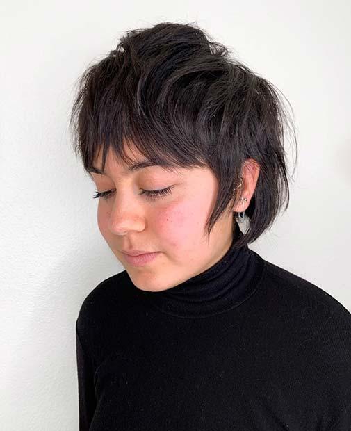 Unique Short Cut with Bangs