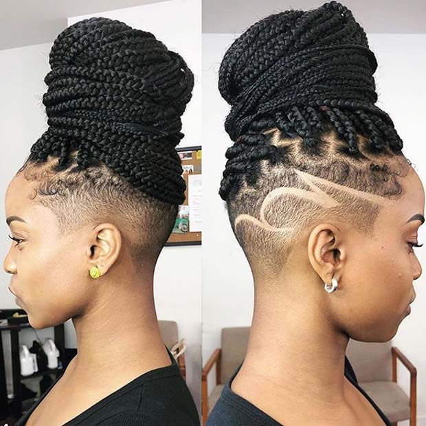 Braided Bun with Shaved Sides
