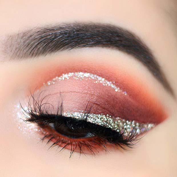 Warm Eyeshadow Blend with Glitter