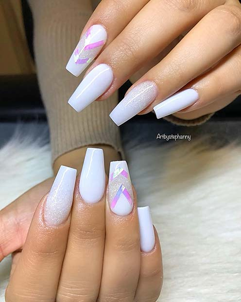 White Glitter and Chevron Nails
