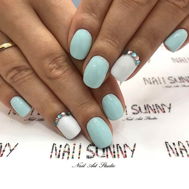 White and Light Blue Nail Design