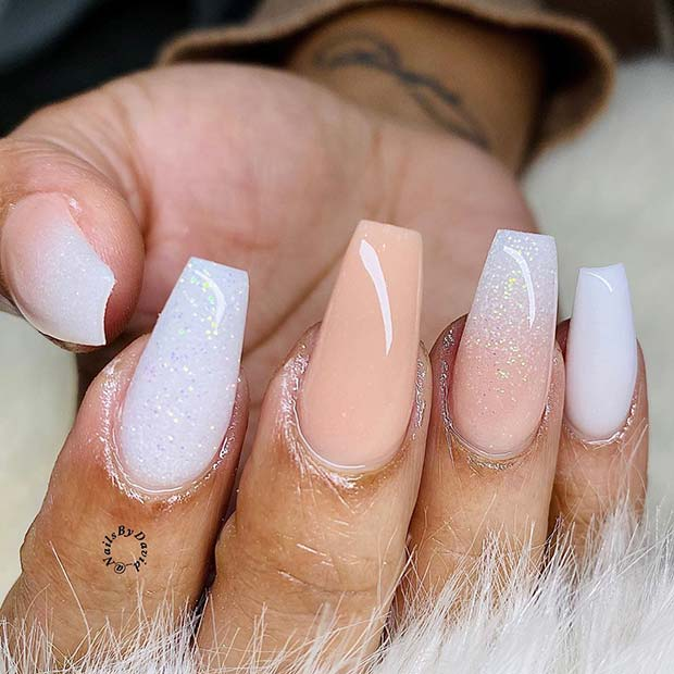 White and Nude Nails with Subtle Glitter