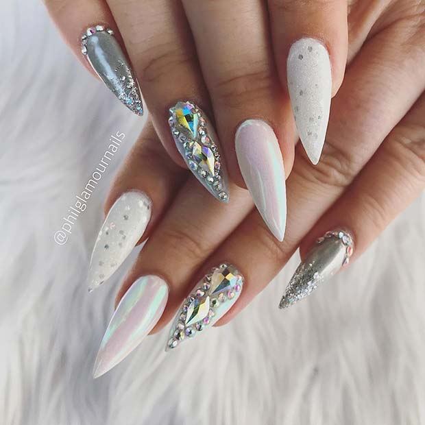 White and Silver Nail Idea